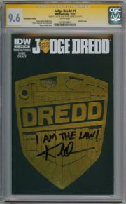 Judge Dredd #1 Subscription Variant CGC 9.6 Signature Series Signed Karl Urban Movie Actor IDW comic book